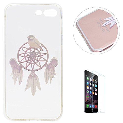 KaseHom iPhone 7 Plus 5.5 Pollice Gel di Silicone Trasparente TPU Custodia Antiscivolo Morbido Paraurti in Gomma Durevole UnicoColorato ModelloProgettare (ConGratuitoProteggi Schermo) Chiaro Ultra Uccelli Campanula