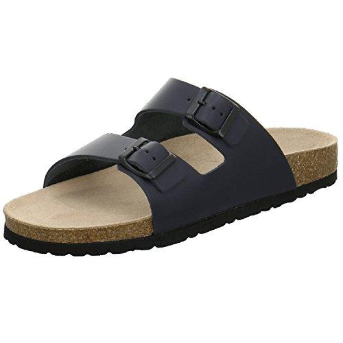 AFS-Schuhe 3100 Bequeme Leder Pantolette für Herren, Hausschuhe Arbeitsschuhe Größe 44 Blau (Navy)