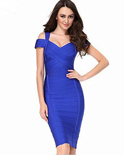 Whoinshop Damen Rayon V-Ausschnitt Figurbetontes Clubwear Partykleid Bodycon Kleider (XL, Blau)