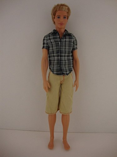 Tan Plaid Shirt (2 Pc Men's Outfit Blue Plaid Short-sleeve Shirt with Tan Shorts Made to Fit the Ken Doll by Olivia's Doll Closet)