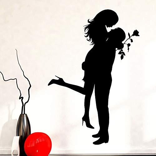 ljradj Wohnkultur Romantische Mädchen Mann Wandtattoos Liebe Rose StilWandaufkleberAbnehmbare Liebe Paar Tapete Wohnzimmer Wandbild57x84 cm