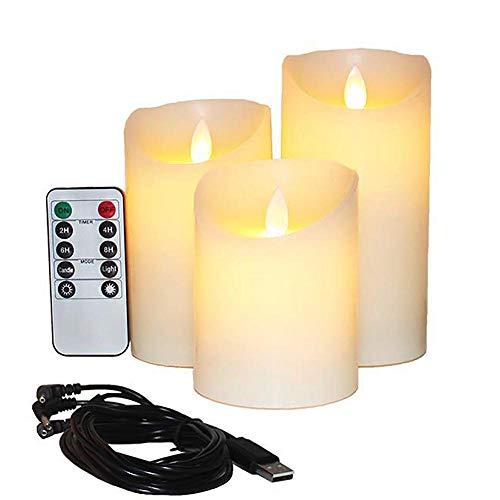 lektrische Kerzen Wiederaufladbarer Batterie 3 Stück Tropfloses Echtes Wachs Säulen LED Flackern 10-Tasten-Fernbedienung ()