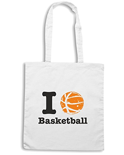 T-Shirtshock - Borsa Shopping T0234 i love basketball Bianco