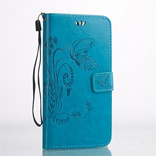 Huawei Honor V8 Hülle - AYASHO® Bunte Drucken Muster PU Leder Brieftasche Hülle Wallet Case Flip Cover Hüllen Etui Lederhülle mit Standfunktion Kredit Kartenfächer für Huawei Honor V8 (5.7 inch) - Himmelblau