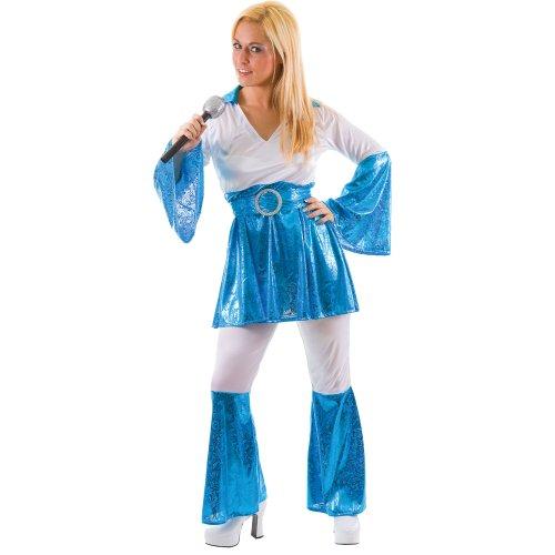 (Mamma Mia 70er Abba Verkleidung für Frauen Karneval Halloween Kostüm Blau L)