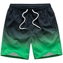 Niseng Hombres Pantalonetas De Playa Loose Casual Degradado De Color Deportes Boardshorts Surf Bañadores