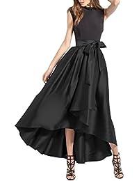 CoutureBridal® Damen Rock Vintage Elegant Faltenrock Asymmetrisch Abendrock  Lang mit Gürtel A Linie Satin ca013b2048