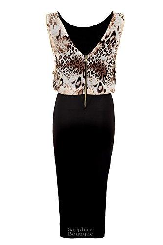 FANTASIA BOUTIQUE Damen Tier Leopard Chiffon Gold Silber Borte Schwarz Stift Damen Kleid 8-14 Mehrfarbig