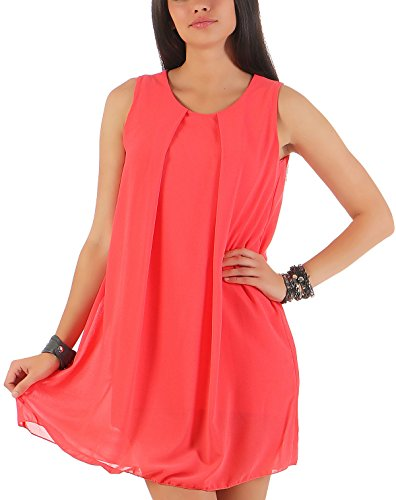 Malito Damen Kleid ärmellos | Elegantes Minikleid | Etuikleid mit Unterkleid | Etuikleid mit Rücken Cut-Out 6877 (Coral)