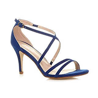 Ajvani Womens Ladies mid high Heel Strappy Crossover Wedding Sandals Shoes Size 8 41