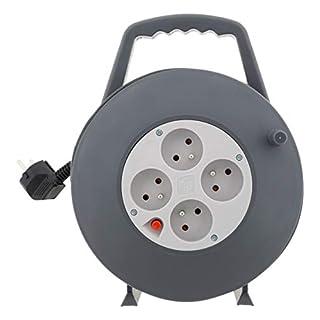 Zenitech - Enrouleur HO5VV-F 4 prises 3G1,5 10m + coupe-circuit - avec poignée