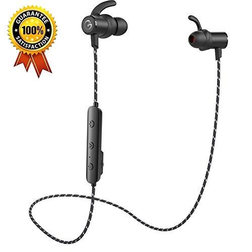 GEVO Bluetooth Kopfhörer [aktualisierte Version] GV18 In-Ohr Sport-Ohrhörer magnetisch Headset , sichert die Maßnahme für Running/Laufen/Joggen/Übung , Fitness studio mit integriertem Mikrofon für iPhone Android Smartphone - Schwarz (Bluetooth 4.1, super Bass, 8 Stunden Zeit des Spiel) (Android Mid Tablet-fall)