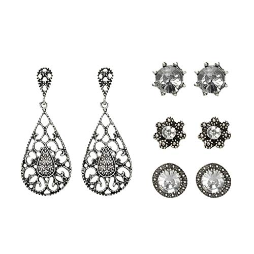 ZYUEER 4 Paare Stilvoller Ethnischer Wind Verkrusteter Blendung Kristall Style Ohrringe -