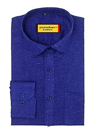 Punekar Cotton Formal Shirts for Mens (Dark Blue, 38)
