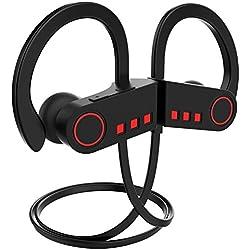 JETech Écouteur Bluetooth 4.1, Casque de Sport Oreillette, sans Fil Stéréo Microphone, Noir