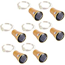 XuBa 8Pcs 1M 10 Leds Botella de Vino Solar Tapón Alambre de Cobre Estrellada Luz de