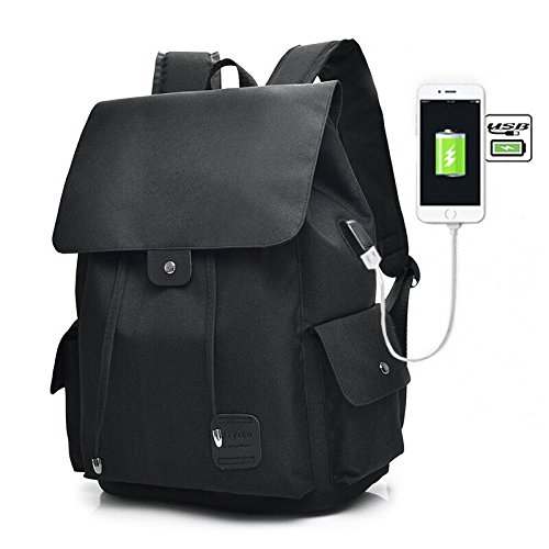 Galleria fotografica Teimose 15.6inch Laptop Backpack With USB Charging Port, iCasso Lightweight Functional Durable Nylon Travel Notebook Computer Bag Casual Daypack Rucksack for Men & Women … (BLACK)
