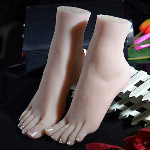 Zehenfußform Schaufensterpuppe Fuß simuliert Silikonlebensgröße, Shooting Requisiten Damenständer Damen Sandalen Schuhe Socken Kurze Strümpfe Knöchelketten, Kunstskizzenfußfetische für Männer