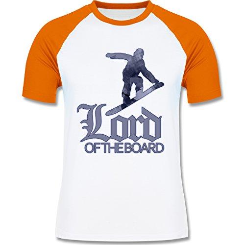 Wintersport Lord of the board zweifarbiges Baseballshirt für Männer Weiß/ Orange