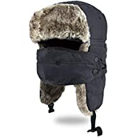 Winter Trooper Trapper Hat, Unisex Bomber Hunting Hats with Windproof Mask Keep Warm for Hiking, Skiing, Skating and Climbing