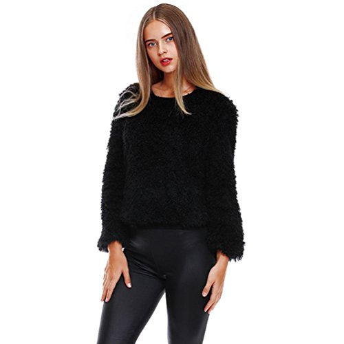 GiGiSun Frauen Solide Warm Wolle Oansatz Langarm Plüsch Sweatshirt Tops Bluse (M, Schwarz) (Seide Perlen Unterhemd)