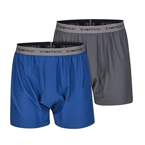ExOfficio Herren Boxershorts, Boxershorts für Herren, Give-N-Go, Herren, Give-n-go Boxer, Granite/Admiral, Large - 2 Pack -