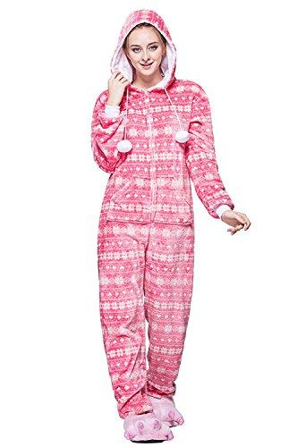 URVIP Neu Unisex Festliche Anzug Flanell Pyjamas Trickfilm Jumpsuit Tier Cartoon Fasching Halloween Kostüm Sleepsuit Party Cosplay Pyjama Schlafanzug Schneeflocken Medium