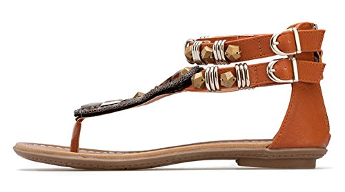 wealsex Sandales Plates Bijoux Perle Spartiate Bohèmes Rétro Ethnique Clip Toe Chaussures de Plage Vacances Fête Soirée Mariage Brun Noir Femmes Brun