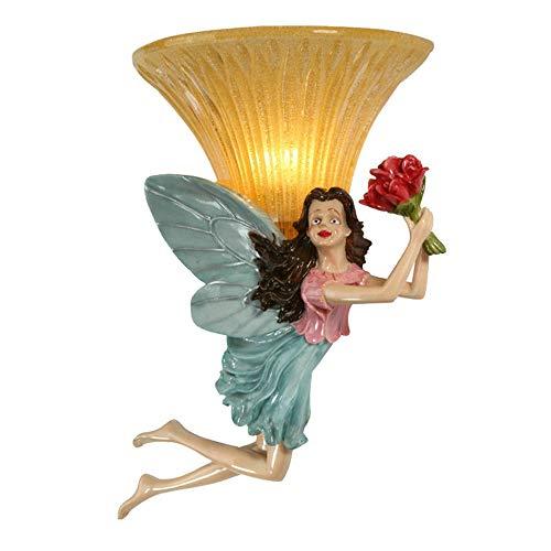 Résine d'art européen Lampes murales led lampes Salon décoration Coloré ange E14 Hôtel chambre chevet éclairage lampes de mur,Fairy