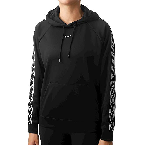 Nike Damen W NSW Hoodie PO Logo Tape Sweatshirt, Black/White, M