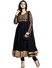 Stylowoman Women's Brocade & Georgette Anarkali Suit Dress Material(A_black5525_Black_Free Size)