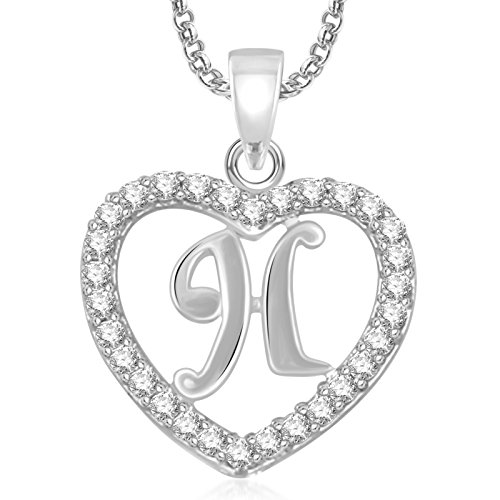 Valentine Gifts Meenaz Silver Plated 'H' Letter Pendants Alphabet Pendant With Chain For Men,...