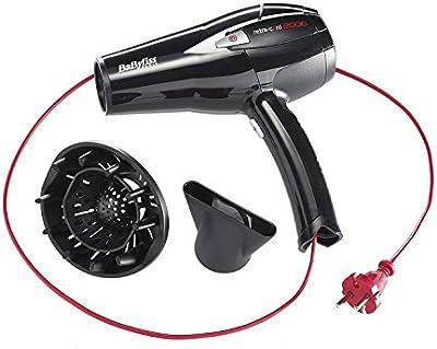 BaByliss D372E – Secador de pelo retráctil, 2000 W, 6 temperaturas, botón aire frío, con difusor y concentrador, cable retráctil