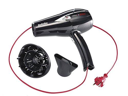 BaByliss D372E - Secador de pelo retráctil, 2000 W - 230V, 6 temperaturas, botón aire frío, con difusor y concentrador, cable retráctil