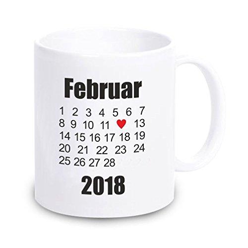 4you Design Weiße Tasse mit beliebigem Datum Hochzeitstag, Kennenlerntag usw. - Geschenk zum Valentinstag - Hochzeitstag - Jahrestag - Kalender - Geschenkidee für Verliebte - für sie - für ihn