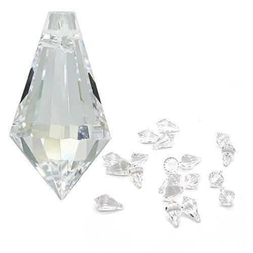 18 Licht-kristall-kronleuchter (Kristall Spitze Länge 20mm 20 Stück Hoch Brillant 30% Bleikristall Regenbogenkristall zum aufhängen für Schmuck, Feng Shui, Weihnachten, Kronleuchter-Behang und zum basteln)
