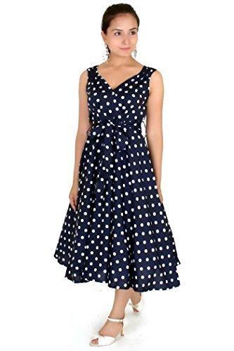 (Kleid 40s 50s Swing Vintage Rockabilly Damen Retro Party Plus Größe 10 - 28 - Blau, 28)