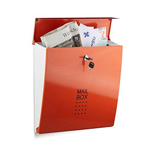 Relaxdays Briefkasten Orange, Modern, Mit Schloss, DIN A4 Einwurf, HxBxT: 33,5 x 35 x 10 cm, Wandbriefkasten (Brief Business)