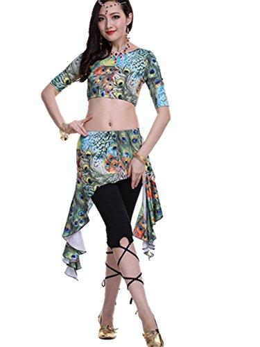Bauchtanz Kostüm Exotic Top+Irregular Edges Rock+Tight Hose Peacock pattern