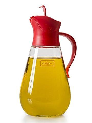 Bouteille en verre Bec verseur anti-goutte par Cookidea, 550ml liquide Distributeur de condiments Huile et Sirop à nourriture avec arrêt automatique, Precise-pour Bec, et poignée antidérapante Red