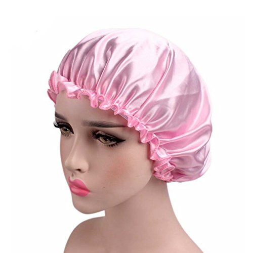 EUZeo Damen Satin Gute Nachtmütze Elastisches Breites Band Kosmetische Kappe Haarpflege-Kappe Haarausfall Cap Nachtmütze Schlafmütze (Rosa)