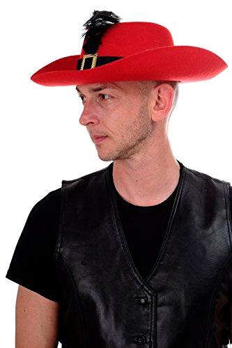 DRESS ME UP - Halloween Karneval Hut Musketier Gestiefelter Kater Edelmann rot (Spanische Edelmann Kostüm)