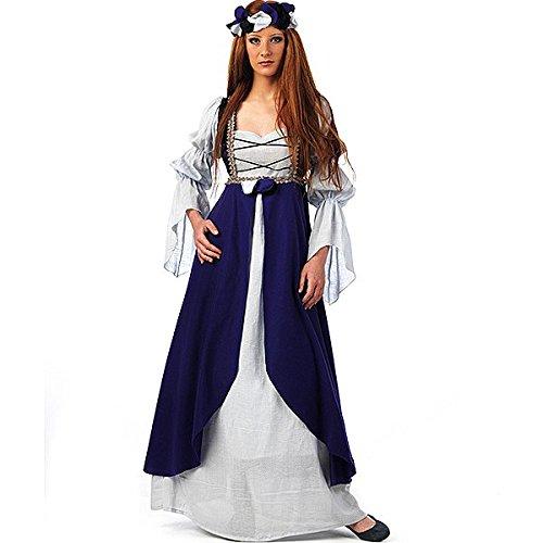 Mascarada ma579S–Costume medievale Malena, taglia S, blu/Melanzana/bianco