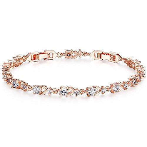 Wowl Rose Gold überzogen Tennis-Armband für Mädchen-Frauen - Für Frauen Diamant-gold-armbänder