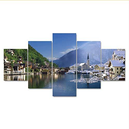 Rureng Kunst Bilder arbeit Wohnzimmer Hd Gedruckt Malerei 5 Panel Europäischen Town Lake Landschaft Dekoration Poster Moderne Wand-20X35 / 45 / 55Cm