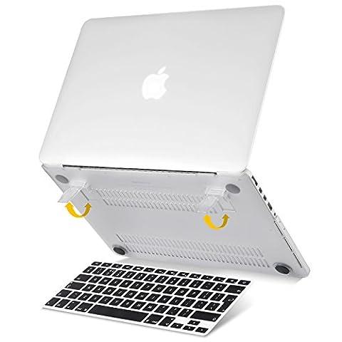 """Beatunes Patentierte 2-in-1 Ultra Slim Mattierte Hartschale Schutzhülle mit Faltbarem Ständer und Gratis Tastatur Cover für Apple MacBook Pro Retina 13"""" (Nur für A1502 & A1425), MC-P701 Farblos"""