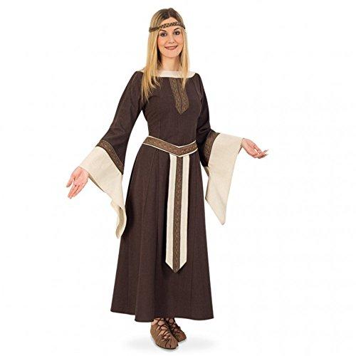 Edelfrau Greta Kleid braun/beige LARP Kleidung Karneval (XL) (Günstige Mittelalter Kleid)