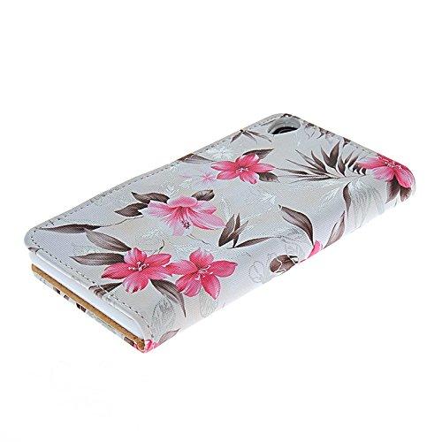 MOONCASE fleur Housse de Protection Coque en Cuir Portefeuille Étui à rabat Case pour Apple iPhone 6 (4.7 inch) Gris Blanc