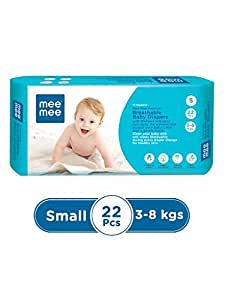 Mee Mee Premium Breathable Baby Diapers, Small, 22 Pieces, White