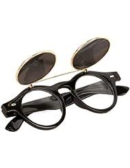 Bluestercool Lunettes de soleil Steampunk Goth Goggles Retro Flip Up Lunettes de soleil rondes Vintage